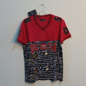 Dolce & Gabbana Red and Black V-Neck T-Shirt